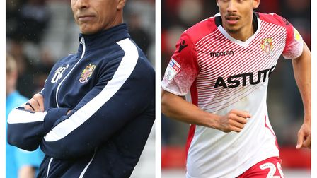 Stevenage boss Dino Maamria (left) and striker Kurtis Guthrie have been nominated for League Two's e
