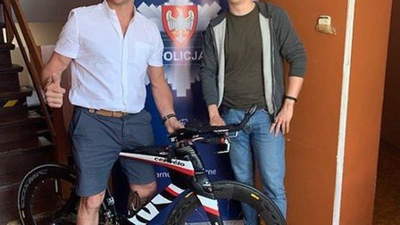 Marc London (left) and Sergeant Arkadiusz Matuszyn with the recovered bike. Picture: Herts Police