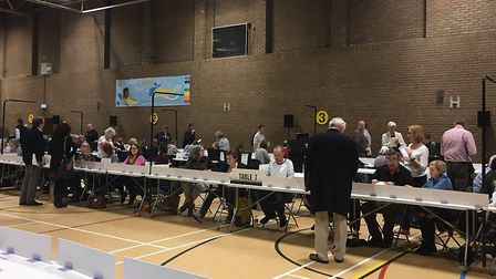 North Herts District Council Local Election 2019 count at North Herts Leisure Centre in Letchworth.