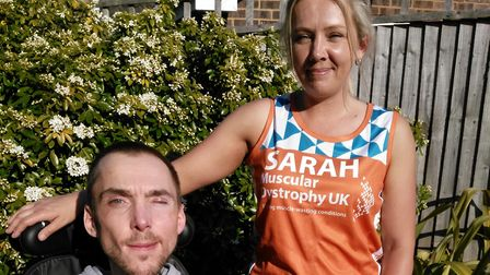 Sarah Kendall pictured with her brother David, who has Duchenne Muscular Dystrophy (DMD). Picture: C