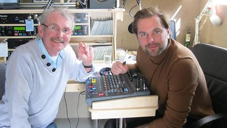Deke Duncan and BBC Three Counties Radio presenter Justin Dealey broadcast from Deke's garden shed s