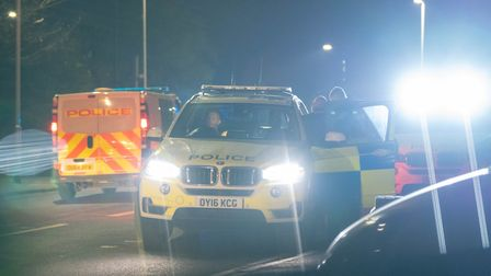 Two men were arrested after a police chase ended in Hitchin's Walsworth Road on Friday night. Pictur