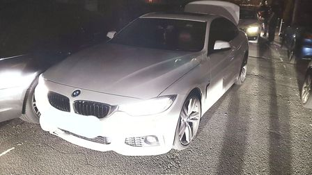 This white BMW was involved in a police chase in Hitchin last night. Picture: BCH Road Policing Unit