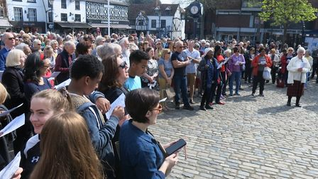 Crowds gather in Hitchin's Market Place for Good Friday's Walk of Witness. Picture: Sam Hallas