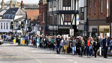 More than 500 people gathered in Hitchin's Market Place for the Walk of Witness service led by Past