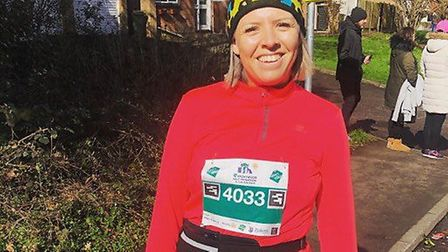 Charlotte Kearney pictured getting ready for the London Marathon. Picture: Courtesy of Charlotte Kea