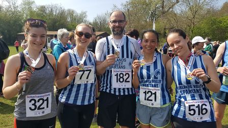 Georgie Hooper, Jo Bowdery, Steven Dobner, Fiona Clarke and Louise Pack at the St Albans 10