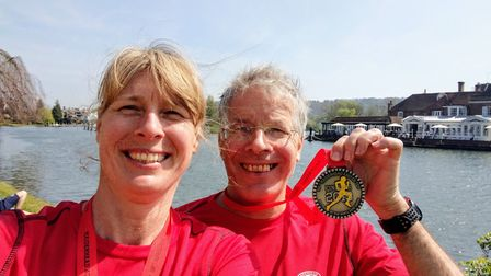 Penny Schenkel and Jim Brown after the Maidenhead 10
