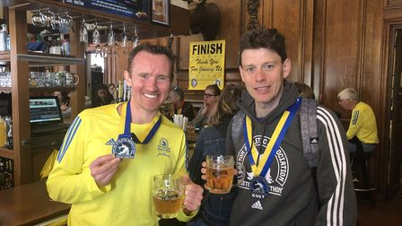 Todd Gray and Steffan Ford after the Boston Marathon