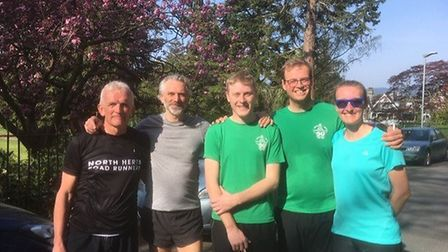 North Herts Road Runners Richard Harbon, Johnny Spinks, James Berry, Matt Ankers and Helen Harbon at