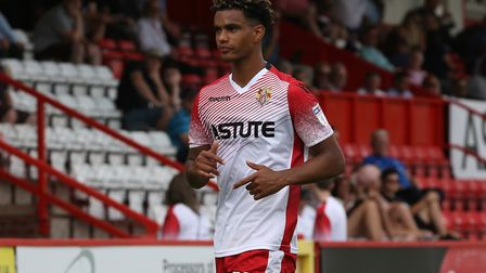 Terence Vancooten of Stevenage in the League Two game between Stevenage FC v Portsmouth at the Lamex