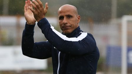Manager of Stevenage FC Dino Maamria before the League Two game between Stevenage FC v Colchester Un