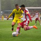 Ilias Chair of Stevenage puts in a left footed cross. Picture: DANNY GENTLE