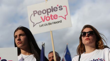 Protesters outside the Houses of Parliament in Westminster. Photograph: Aaron Chown/PA Wire.
