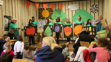 The students performed for the children at Standalone Farm. Picture: North Herts College