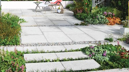 A paving area can be used to make a relaxing outdoor living space. Picture: Brookers
