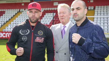 Boxing promoter Frank Warren and Billy Joe Saunders announce his next fight against Shefat Isufi at