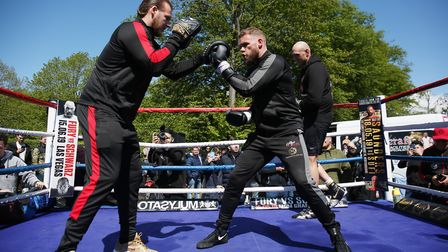 Billy Joe Saunders and Tyson Fury hold an open training session with trainer Ben Davinson at Stevena
