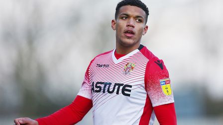 Luther Wildin of Stevenage in the League Two game between Stevenage FC v Yeovil Town at the Lamex St