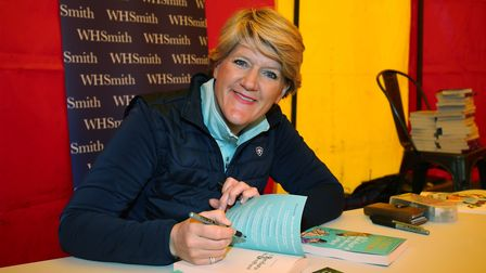 Clare Balding holds a book signing for fans at DogFest 2019 at Knebworth House. Picture: DANNY LOO