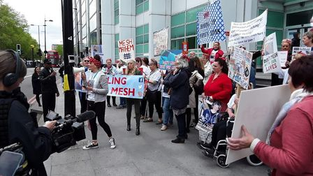 Carole Davies took part in a Sling the Mesh rally in London last week. Picture: Malcolm Tilke.
