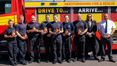 Fire crews in Stevenage with their Easter eggs. Picture: Damien Hillier