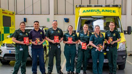 Ambulance crews in Stevenage with their Easter eggs. Picture: Damien Hillier