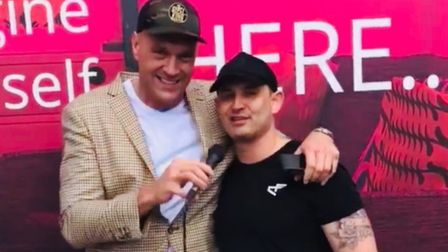 Boxer Tyson Fury joined Stevenage busker Ciaran O'Connor in a duet of Mario's You Should Let Me Love
