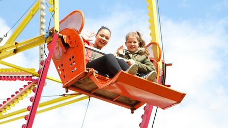 Stotfold Mill Steam Fair 2019 - Amelie, 11, and Maddie, 10, enjoy the fairground ride.Picture: Ka