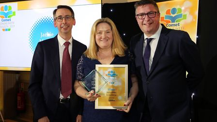 Comet Community Awards 2019: Teacher of the Year Jackie Massey, with Chris Lloyd from sponsors Airbu