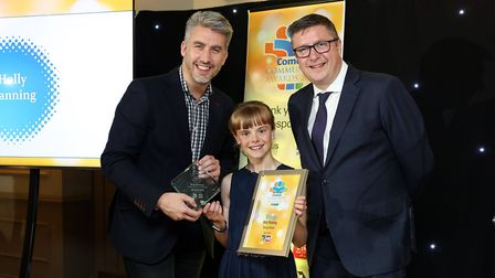 Comet Community Awards 2019: Holly Manning our Young Achiever winner with Iain Hutchinson from spons