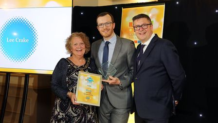 Comet Community Awards 2019: Mayoress Cllr Laurie Chester accepting Role Model of the Year award on