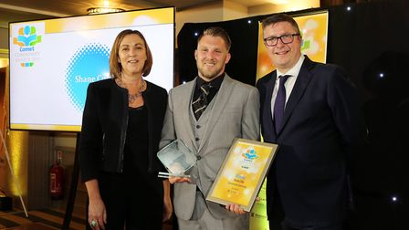 Comet Community Awards 2019: Service to the Community winner Shane Cole with Tracey Lester from spon