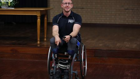 Paralympian wheelchair rugby player Aaron Phipps visits year 11 and 13 pupils at Fearnhill School ce