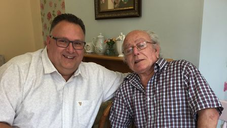 Allan Tansley and Gary Parker had a surprise meeting at Molly's Tea Room in Hitchin. Picture: Lisa T