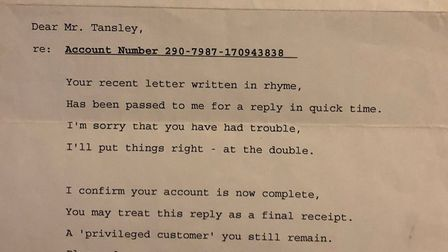 After sending a poem to enquire about his TV loan in 1993, Allan Tansley received a poem in response