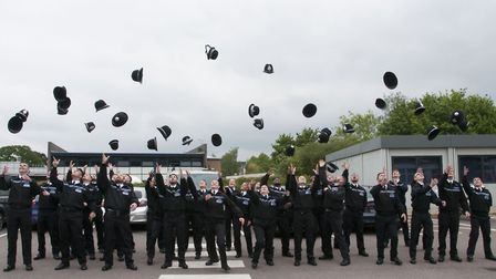The new officers celebrate at Longfield Centre, Stevenage. Picture: Gary Wood