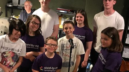 Stand-by-me's young ambassadors showed off their vocal range in the studio. Picture: Stand-by-me