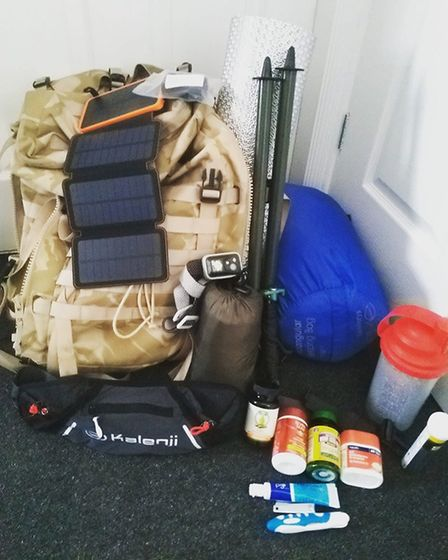 Reece carries all the equipment he needs on his back. Picture: Reece McCullagh