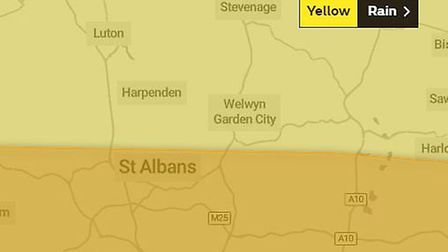 The Met Office have issued yellow and amber weather warnings for rain in Hertfordshire today. Pictur