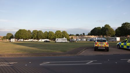 Travellers on St John's Playing Field, Hitchin. Picture: Supplied