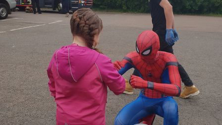 Superheroes were a big attraction at the Friends Raising Awareness Now fun day. Picture: Carmel Brow