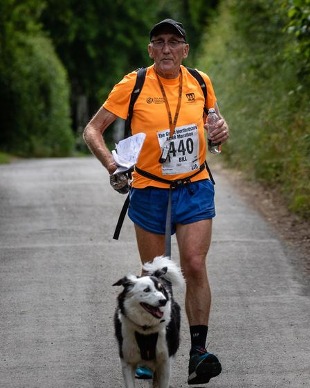 Sunday's event was Patch the dog's 90th marathon. Picture: Jeremy Lintott
