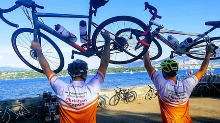 Joe Capon and his brother Luke rode from London to Geneva in Switzerland to help raise £15,500 for C