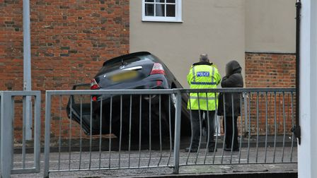 A car came off the road on James Way in Stevenage this afternoon. Picture: Dan Mountney