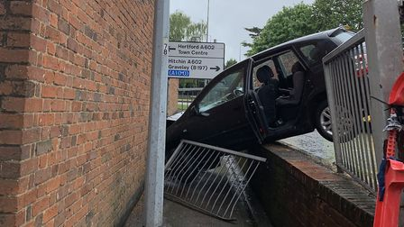 A car came off the road on James Way in Stevenage this afternoon. Picture: Jo Sorrell