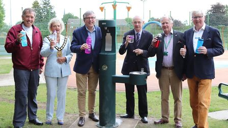 North Herts Councillors at the Avenue Park drinking fountain in Baldock. Picture: NHDC
