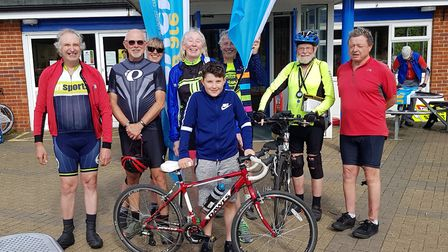 Lucas, 12 pictured centre after cycling 84km. Picture: Cycling UK Stevenage