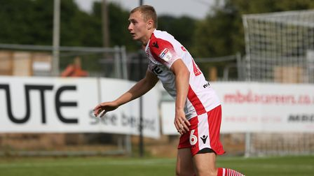 Joe White of Stevenage in the League Two game between Stevenage FC v Portsmouth at the Lamex Stadium
