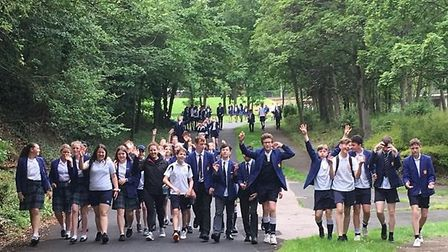 Pupils from the John Henry Newman School have collectively walked 24,900 miles in five weeks. Pictur